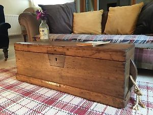 Antique PINE CHEST, Old Wooden Blanket TRUNK, Coffee TABLE, Vintage Box & TRAY  | eBay