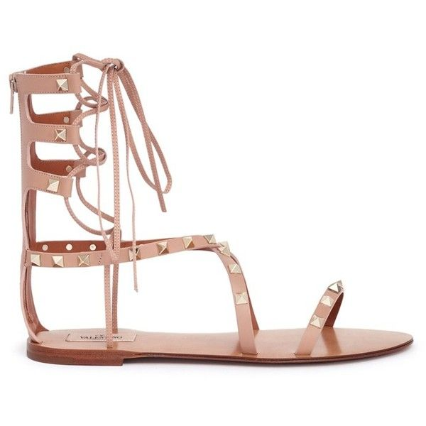 VALENTINO 'Rockstud' leather gladiator sandals (1,270 CAD) ❤ liked on Polyvore featuring shoes, sandals, flats, flat shoes, leather lace up sandals, criss-cross sandals, summer shoes and gladiator flats sandals