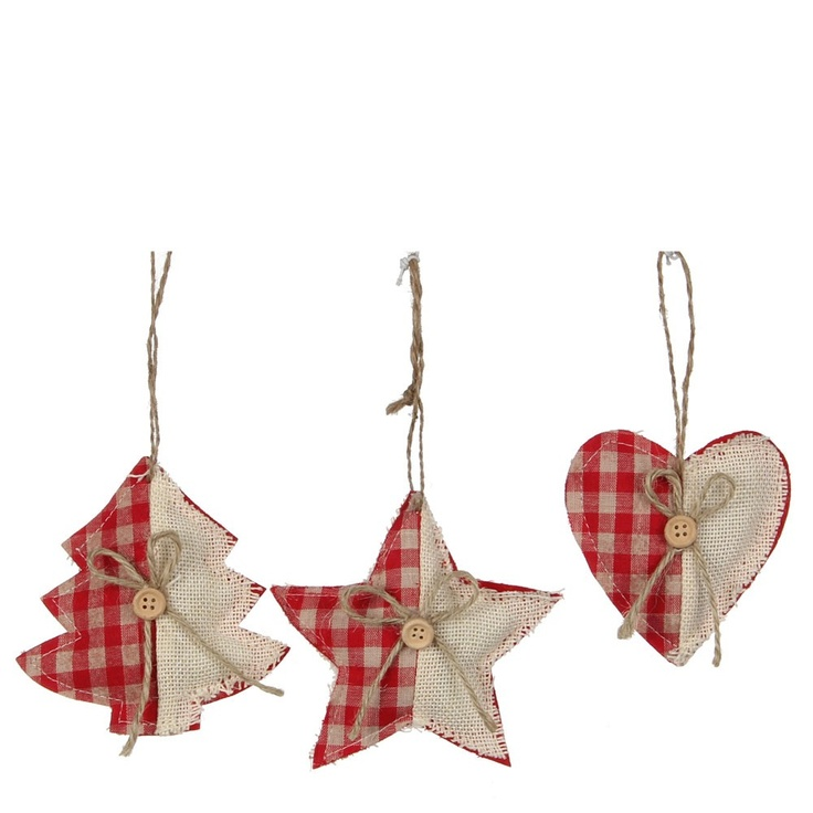 Heart Star Red Tree Ornament