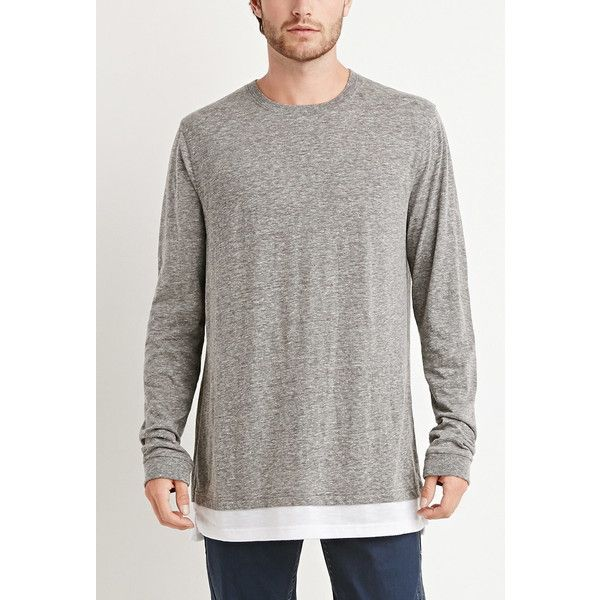 Forever 21 Men's  Paneled-Hem Slub Knit Tee (42 BRL) ❤ liked on Polyvore featuring men's fashion, men's clothing, men's shirts, men's t-shirts, mens t shirts, mens long sleeve t shirts, mens long sleeve knit shirts, mens longsleeve shirts and mens longline t shirt