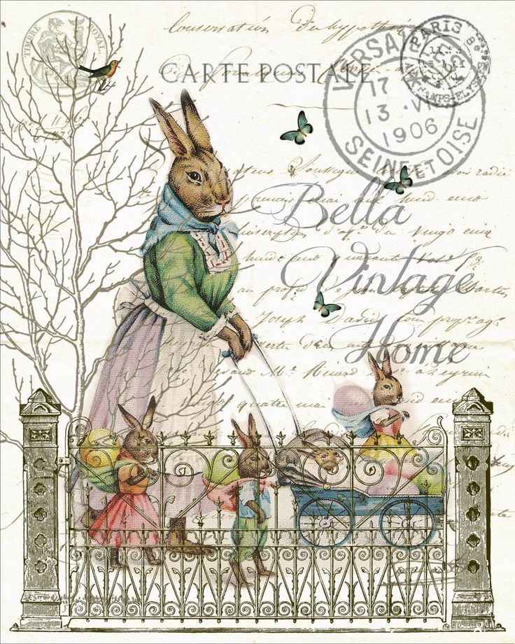 Mother Rabbit with Babies Print, Pillow,Note Cards, Tea Towel bellavintagehome.com
