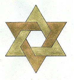 O hexagrama é formado unindo–se o Triângulo da Água com o Triângulo do Fogo, formando a estrela de seis pontas, também conhecida como Selo de Salomão. Esse símbolo é uma imitação da Estrela de Davi, o símbolo nacional de Israel, o povo escolhido de Deus. A diferença é que esse selo ocultista é formado por dois triângulos entrelaçados, enquanto que, na Estrela de Davi, um triângulo sobrepõe o outro.