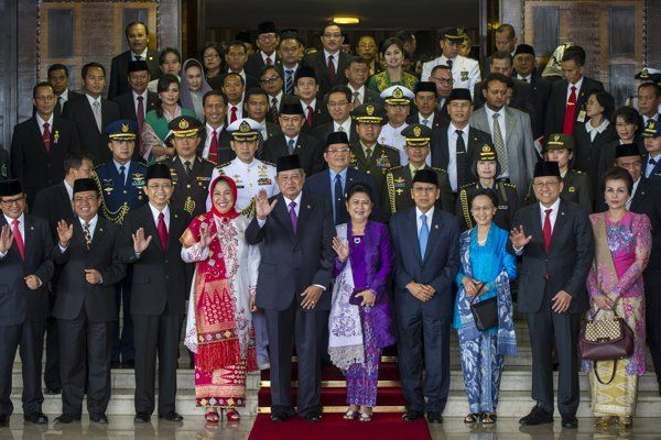 President Susilo Bambang Yudhoyono photographed together after attending the Joint Session of the Parliament and DPD in Nusantara Building,Jakarta, Friday  15-08-2014