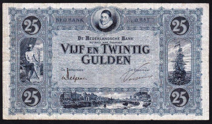 """Nederlands - Bankbiljet 25 Gulden 1927 """"Willem van Oranje"""""""