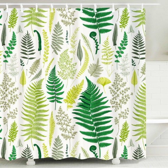 Botanical Shower Curtain Leaves Plant Shower Curtains Fabric