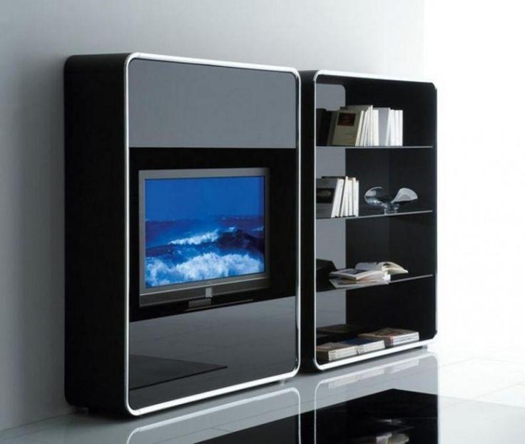 Luxury Wohnwand in schwarzem Hochglanz mit abgerundeten Ecken
