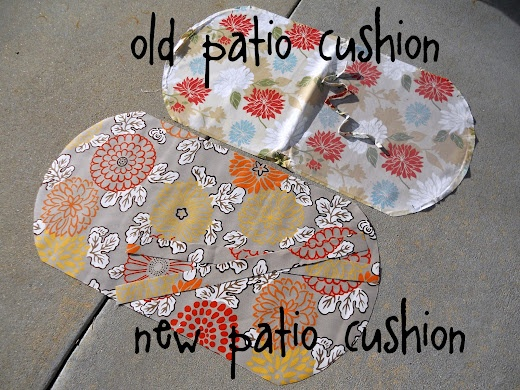 How to recover an old patio cushion. (Every year I promise myself that I'll gather my cushions and store them in the garage, and every year I forget).