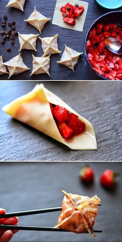Strawberry-Chocolate Dumplings Whether you call them dumplings, potstickers, or gyoza, they're always delicious. Dumplings are a must-have dish every time I dine out at a Chinese restaurant, but very rarely do I make them at home. They're actually quite easy to make, and these dumplings are unexpectedly sweet with a strawberry and chocolate filling.