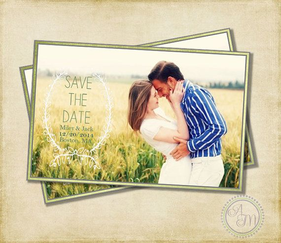 Save The Date- Laurel Wreath Large Photo, Modern Save The Date, Picture, Engagement Photo, Vintage Rustic Wedding (Printable Download)