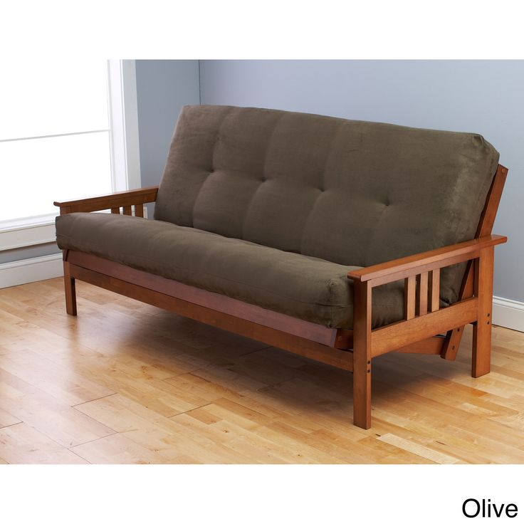 Create additional space for your guests to sleep with this stylish futon frame and mattress set. The modern futon sofa easily converts to a comfortable bed, and the durable frame is constructed of solid hardwoods for added stability.