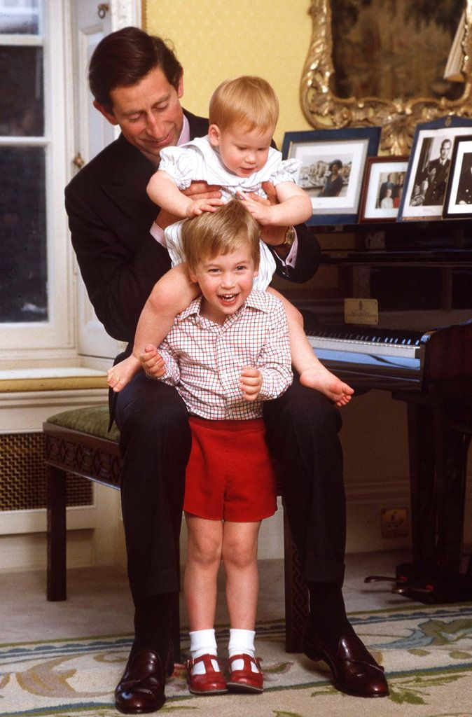 A Royal Baby Is on the Way —See William and Kate as Kids!: Prince Charles played with Prince William and Prince Harry at Kensington Palace in October 1985.
