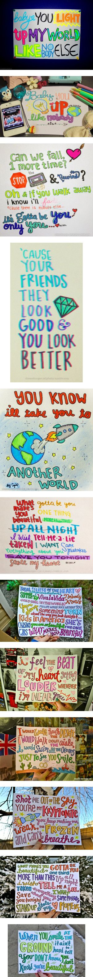 """One Direction Lyric Drawings"" by skye-loves-to-write ❤ liked on Polyvore I wanna make these"