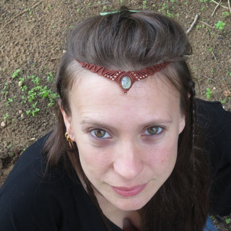 New to MacrameLoveJewelry on Etsy: Brown Macrame Headband Bindi Hair Jewelry Indian Headpiece Bohemian Jewelry Forehead Jewelry Indian Headpiece Hippie Headband (42.00 USD)