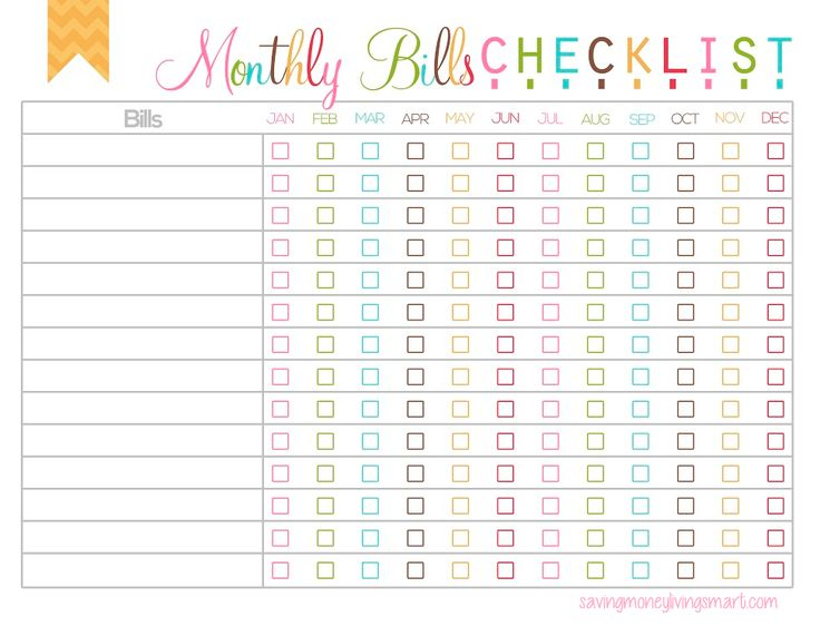 Monthly Bills Checkist - Free Printable  Watermark will not show on printable