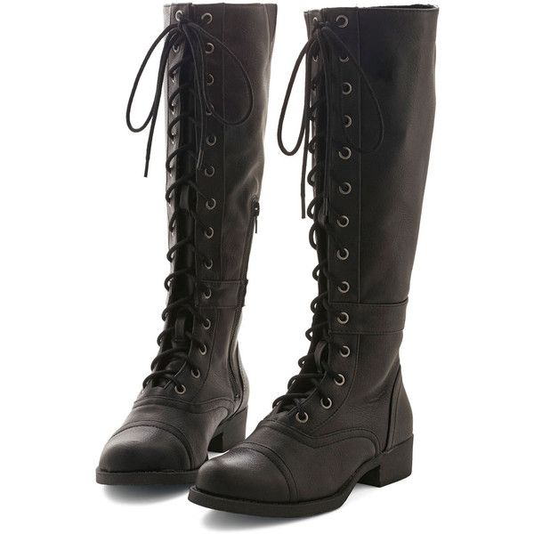 Military Steadfast Friends Boot by ModCloth ($80) ❤ liked on Polyvore featuring shoes, boots, black, knee high, lace up, military boots, knee high military boots, black lace-up boots, cap toe boots and black knee-high boots