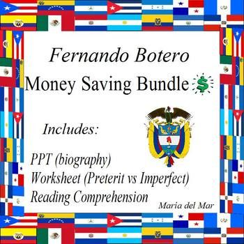 Fernando Botero mini bundle includes: 1) PPT for a brief biography for Fernando Botero: https://www.teacherspayteachers.com/Product/Fernando-Botero-en-espanol-3552495 2) Grammar