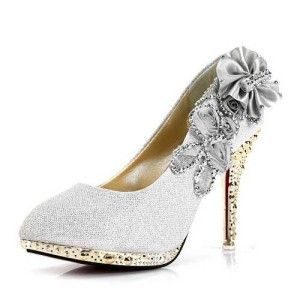 White silver and gold floral embellished high heel prom special occasion 2014 shoes for women
