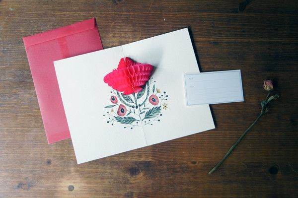 Love Pop-Up Card, from Camélia. Flowers always make me think of you!