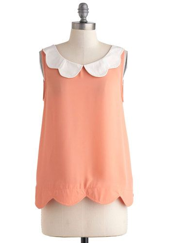 Scalloped Peaches Top - Coral, White, Solid, Peter Pan Collar, Daytime Party, Vintage Inspired, Sleeveless, Collared, Sheer, Mid-length, Pastel