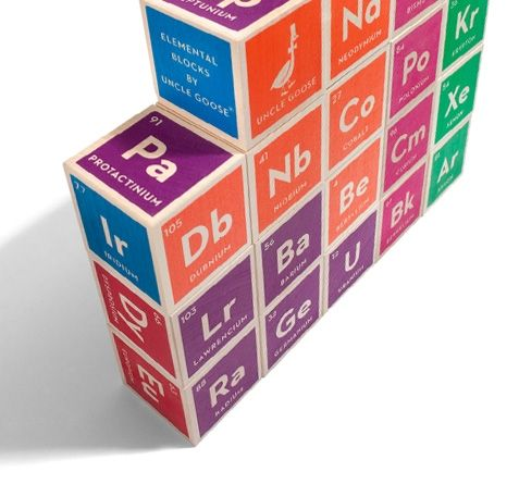 The entire periodic table of elements on 20 hand-crafted wood cubes - new periodic table atomic number and names