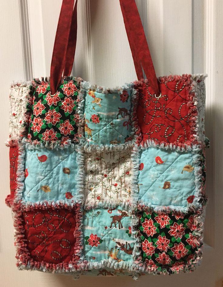 Christmas rag quilt bag