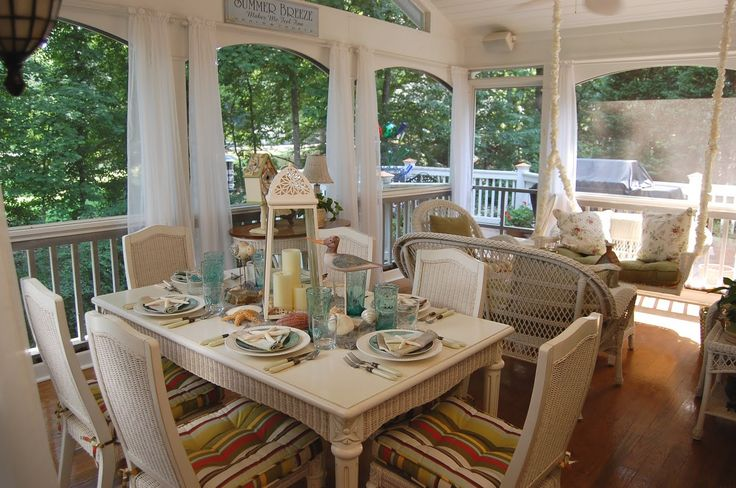 pinterst beach porches | little beach themed table setting out on the porch. I still have beach ...