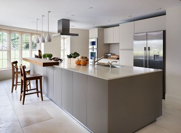 Sympathetic addition to a Cotswold-stone family home- Bulthaup B3 Caesarstone 2020 Cubanite grey.