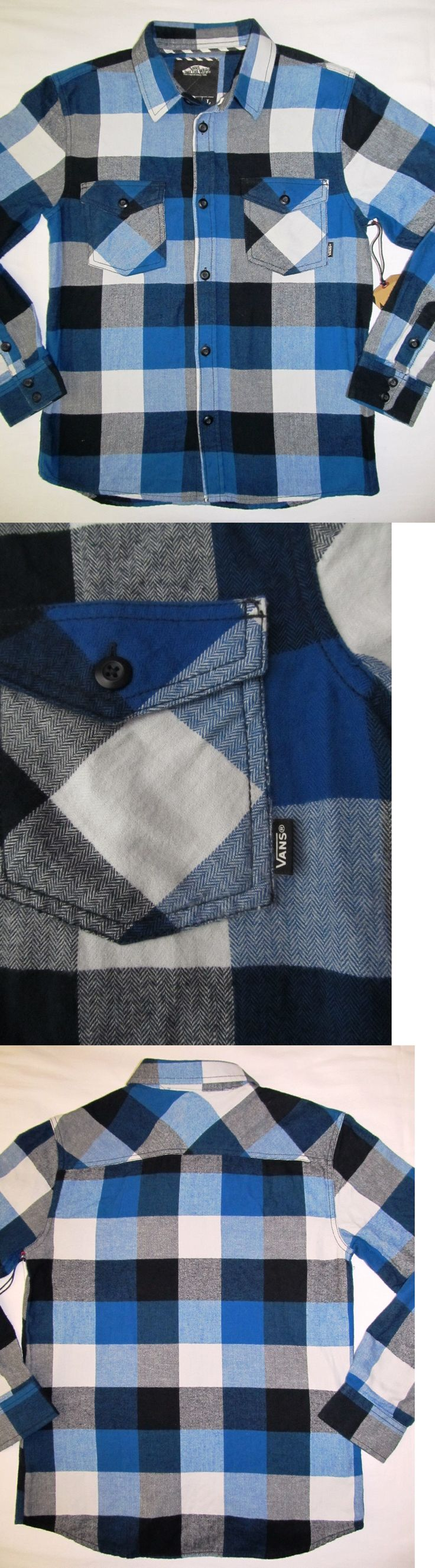 Tops Shirts and T-Shirts 175521: New Youth Boys Vans Box Flannel Long Sleeve Shirt Blue Black White Plaid Large -> BUY IT NOW ONLY: $32.99 on eBay!
