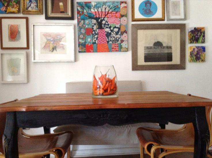 Centro de mesa con ají naranja Naranjo , decoración comedor  Julieta infante