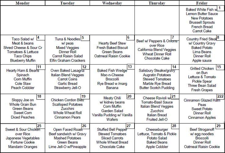 Monthly Menu Sample Sample Menu Independence Meals On