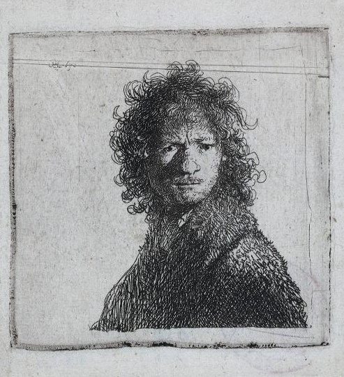Self Portrait, #Rembrandt Frowning (1630). One of Rembrandt's earliest prints belongs to a series of etchings in which he portrayed himself with a range of extreme facial expressions. Here he has depicted himself in an angry mood. He appears to have turned his head with sudden violence, giving the picture a sense of spontaneity. www.rijksmuseum.nl