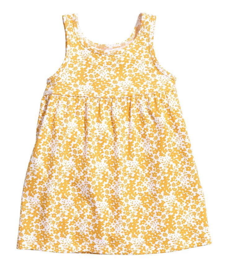 Check this out! Sleeveless dress in cotton jersey with a printed pattern. Seam at top and gathered skirt. - Visit hm.com to see more.