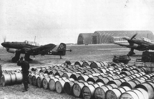 Ju87 B-1 dive bombers prepare to attack in the West, May 1940. The mass of fuel drums indicates a major, chronic problem that the German war machine never managed to address ... JR.