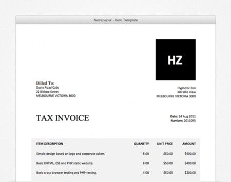 Newspaper- Xero Invoice Template. All Of Our Packages Include A