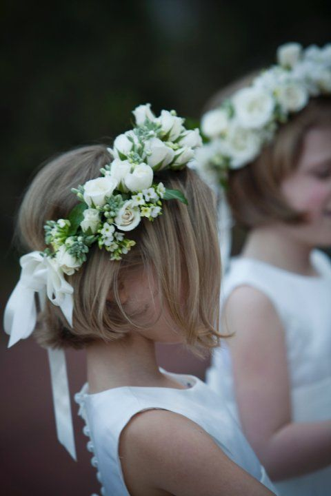 floral halos on flowers girls, kalanchoe and spray roses