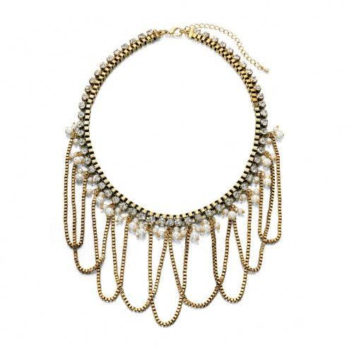 Fiorelli Costume Gold Pearl Drop Statement Necklace