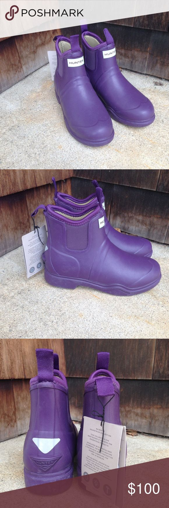 NWT Purple Hunter Balmoral Equestrian boots Short purple Hunter Balmoral Equestrian boots. Made of neoprene. See photos for description on tags. Hunter Boots Shoes Winter & Rain Boots