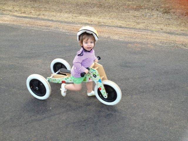 """21-month-old Damika Carroll has only had her Wishbone Bike for about a month, but already can't bear to be without her wheels. """"Because it will last her till she's five-year-old we love it that little bit more,"""" Mum says, """"We are expecting another baby now and we'll definitely be buying another Wishbone Bike for him or her from Entropy!"""""""
