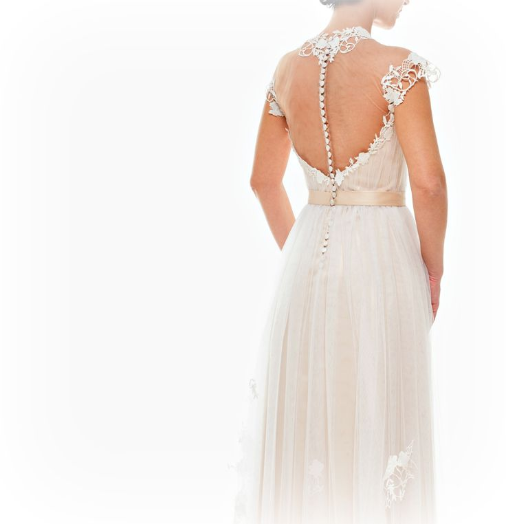 Bridal dress of romantic Lace on nude tulle