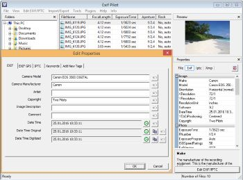 Free Exif Editor - Edit, Create, and View Metadata (EXIF, EXIF GPS, IPTC, and XMP) with Exif Pilot