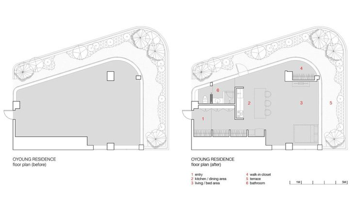 The floorplan (before) to the left shows how the empty space was void of any plumbing and utilities. The floorplan (after) to the right shows how the plumbing and other utilities were centered around the T-shaped core which form the bathroom and the kitchen. Furthermore, since the residence was designed for a single bachelor, privacy was not a priority. Therefore, no doors were designed and no walls extended to the ceiling, allowing for a more open space.