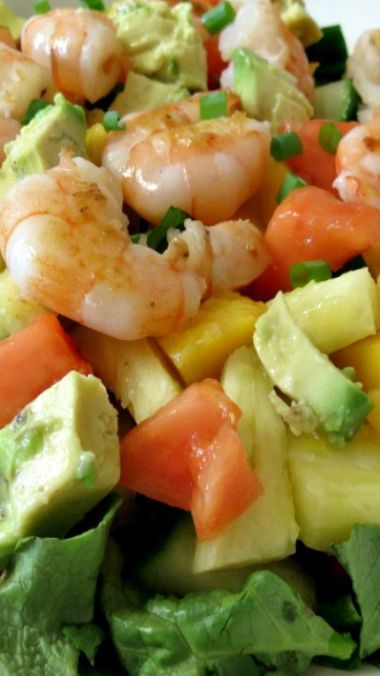 Tropical Shrimp Salad with Pineapple Mango Dressing Recipe ~ A light, healthy, sweet salad made with fresh tropical fruit and shrimp.