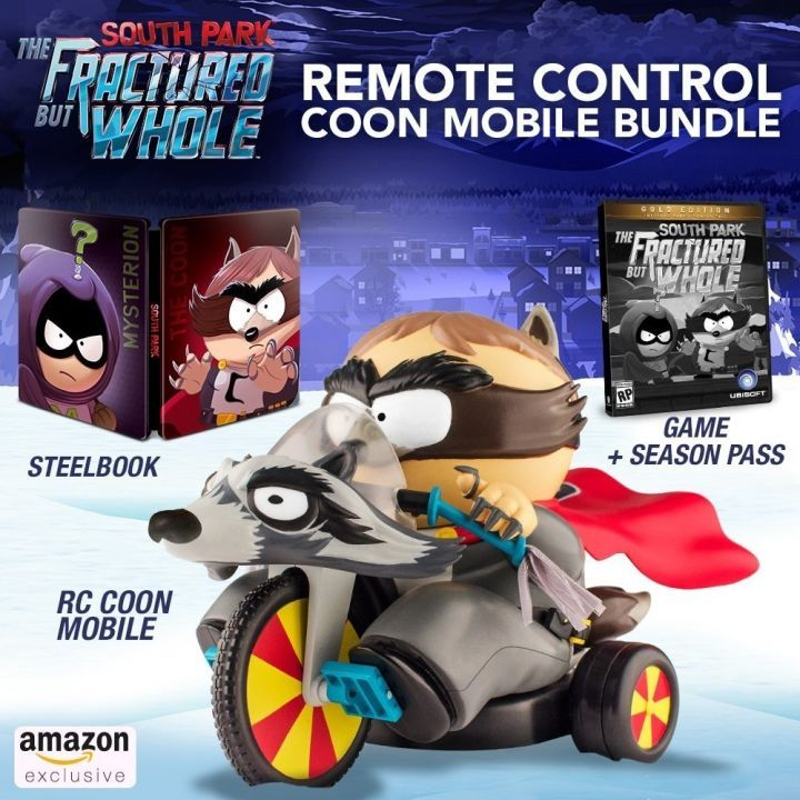 South Park: The Fractured But Whole Gets An Absolutely Crazy Special Edition  South Park: The Fractured But Whole is getting a special edition and it includes a remote-controlled big wheel bike.  The $190 South Park: The Fractured But Whole remote-control Coon Mobile bundle was discovered on Amazon by Twitter user Wario64. Along with the remote-controlled Coon Mobilewhich features Cartman's alter-ego The Coon on a big wheel bikethe bundle will include the South Park: The Fractured But Whole…