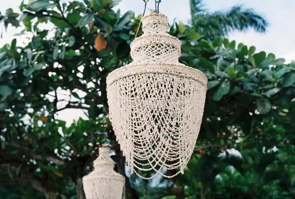 Beautiful chandelier for a coastal outdoor space.