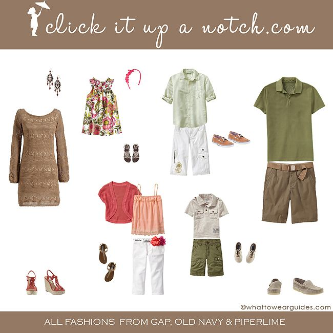 what to wear in family photos may 2012 - click it up a notch.com - below this are other color combos to click on  also - i was just thinking about this for an upcoming group photo shoot - i am going to assemble a color pallette to email to the client - give them an idea of the color combos that would be good -