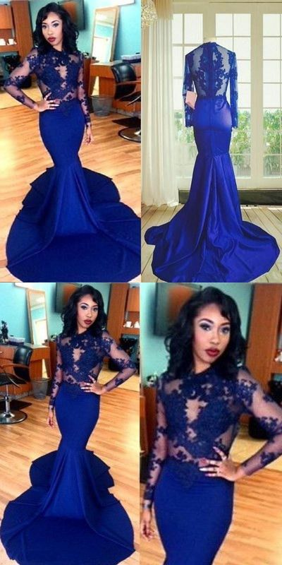 05b56daef938 Long Sleeves Lace Prom Dress Mermaid Style High Neck See-Through Lace  Appliques Sexy Royal Blue African Party Evening Gowns M0536