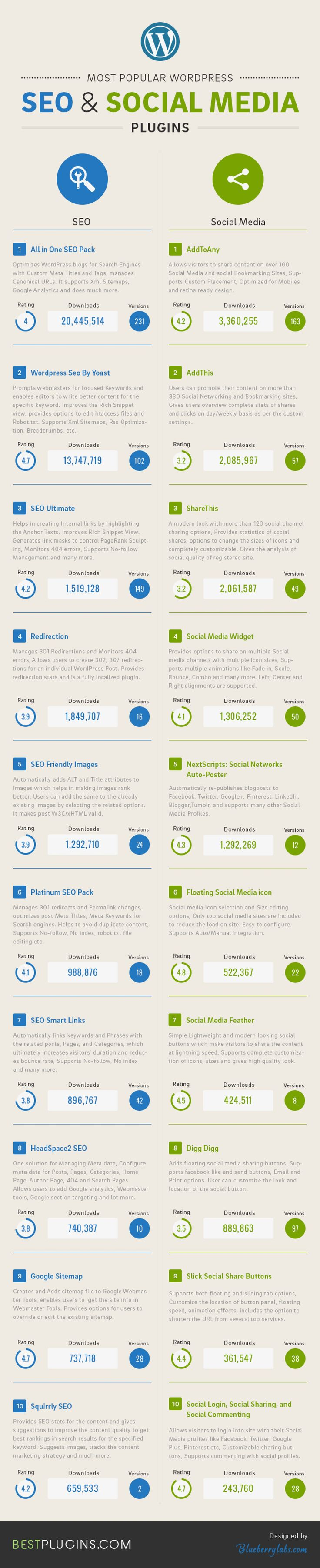 Most Famous Seo and Social Media Plugins Infographic