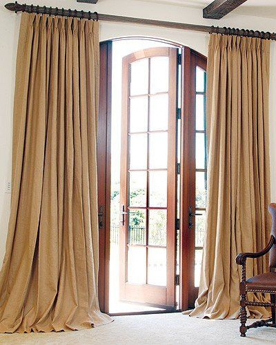 """Burlap Drapes Lined 13 Colors 2 - 58"""" WIDTHS , Pleated up to about 24"""" to 28"""" wide Note: If you need 2 pair to be sewn together, for a larger window (AS PICTURED), then order 2 PAIR. These can not be"""