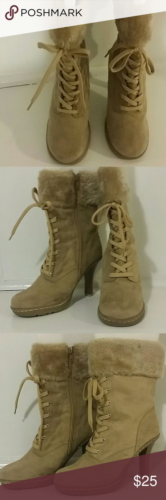 """Boots Mid-calf dress boots for cold weather. Worn once, mild scuff marks as pictured. All man-made materials. 12"""" from sole to top with 4"""" heel. Shoes Lace Up Boots"""