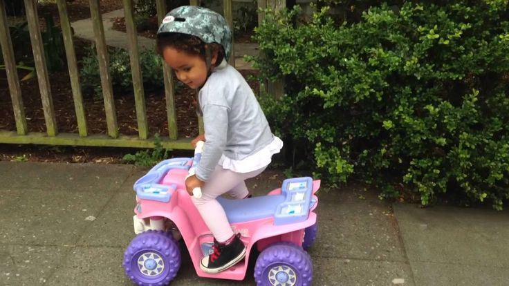"2 year old doing stunts on her Barbie ""Power Wheels"""